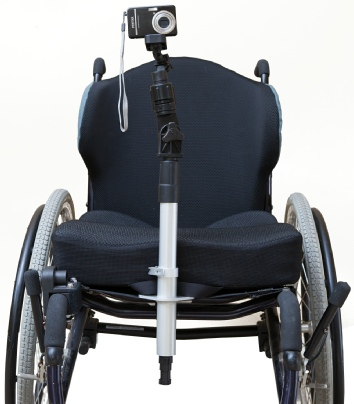 Photo of wheelchair with camera mount attachment