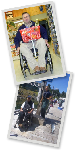 Two photos of a guy using a mobility mount with a shopping basket and a fishing rod.